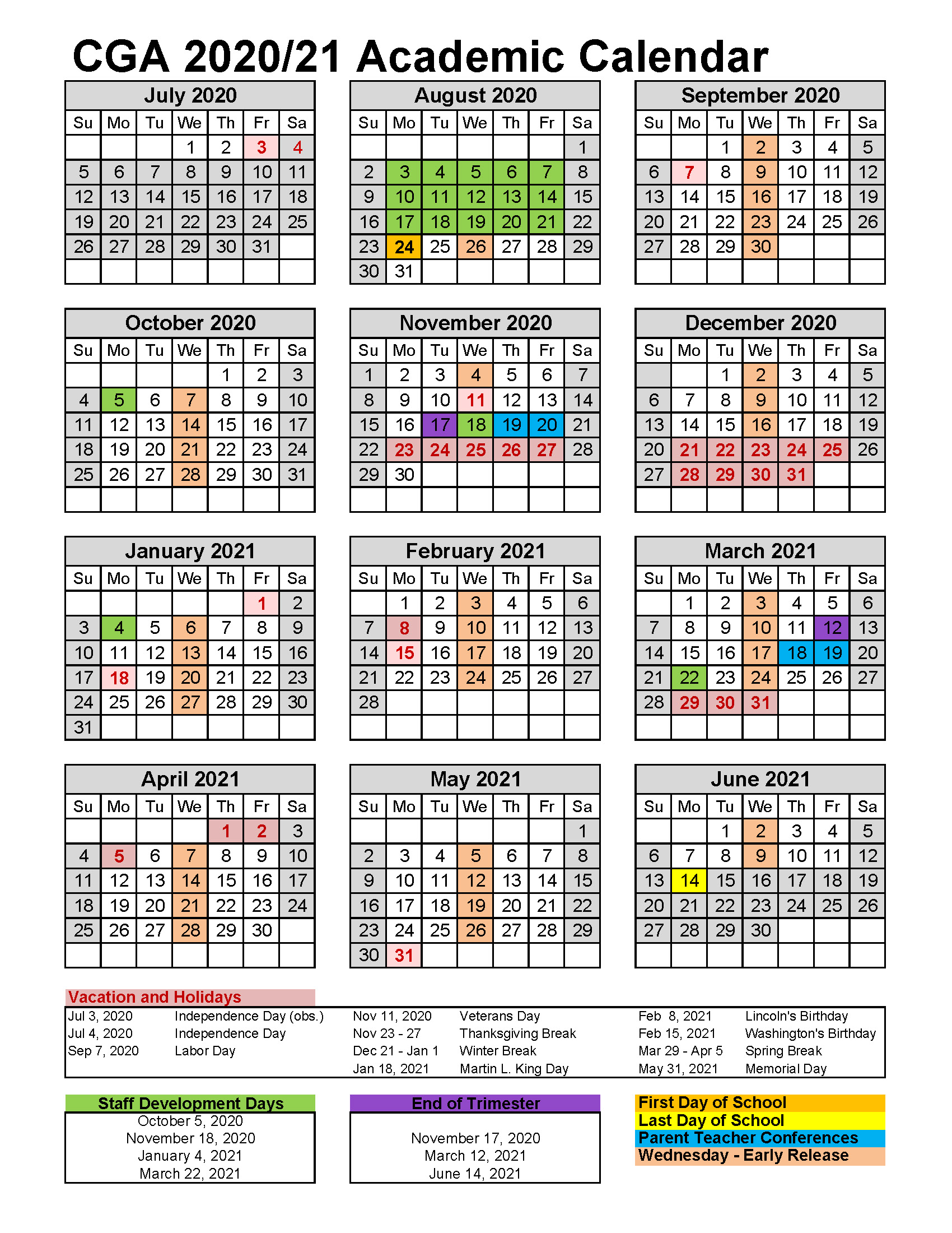 2020-2021 Academic Calendar- CGA - 175 days REVISED